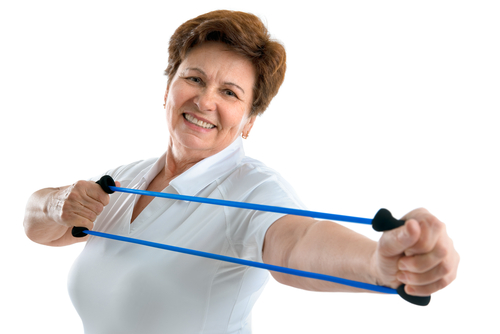 Resistant band muscles workout for seniors